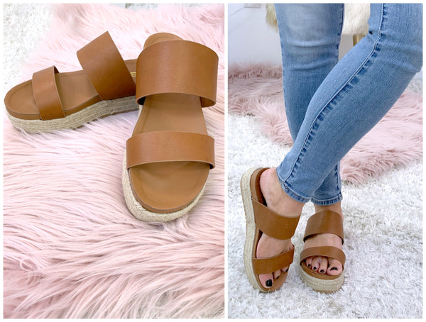 On the Upgrade Double Strap Platform Sandals - Madison + Mallory