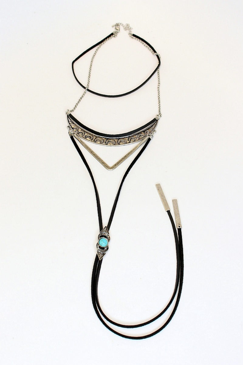 Silver Turquoise Layered Choker - Madison + Mallory