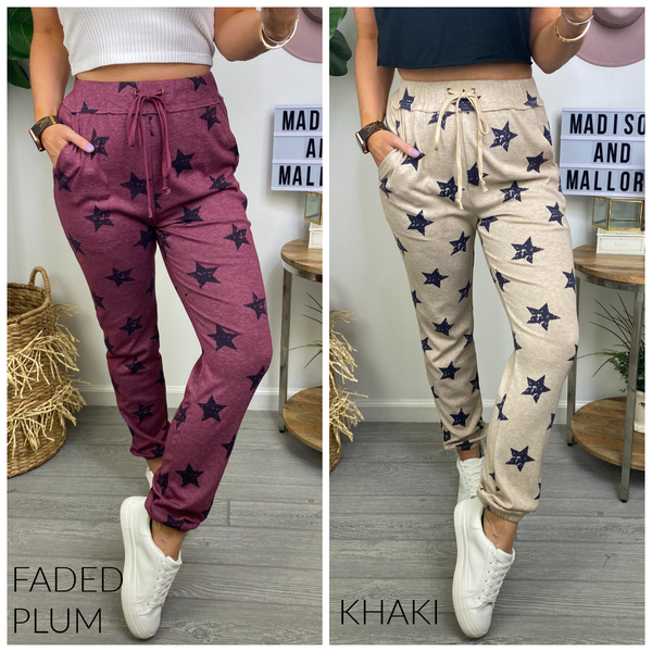 Our Full Attention Star Print Joggers - Madison and Mallory