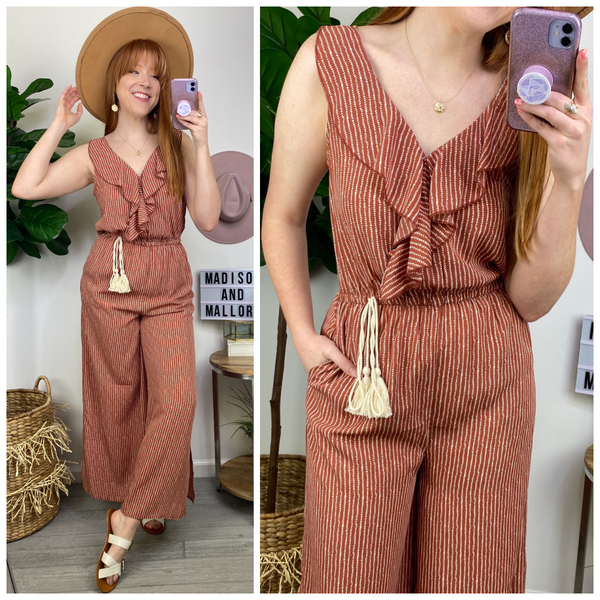 Paterson Striped Ruffle Jumpsuit - Madison and Mallory
