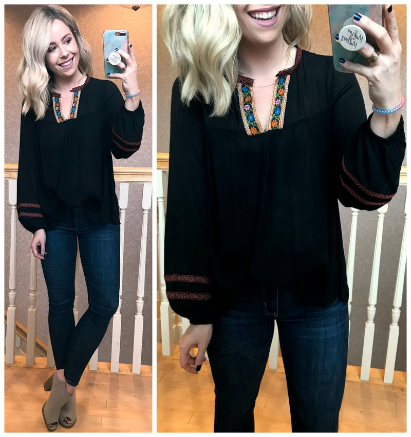Corrine Embroidered Tunic Top - Madison + Mallory