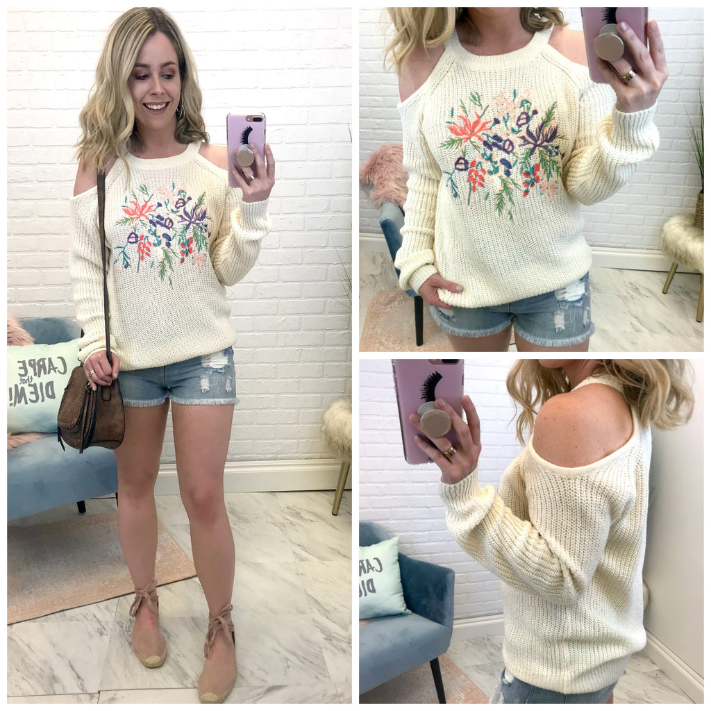 Cold Shoulder Embroidered Knit Top