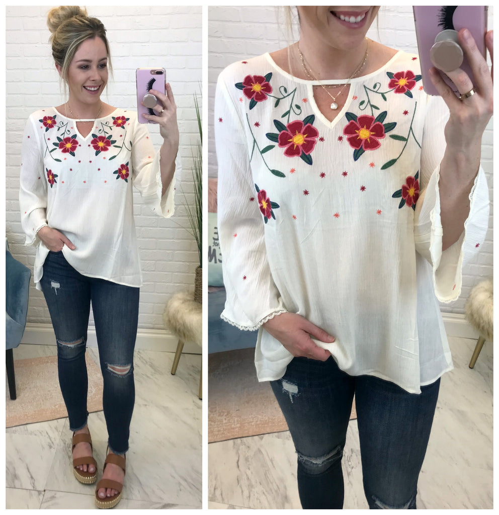 S / Ivory Woven Floral Embroidered Top - Madison + Mallory