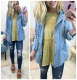 S / Chambray Chambray Utility Jacket - Madison + Mallory