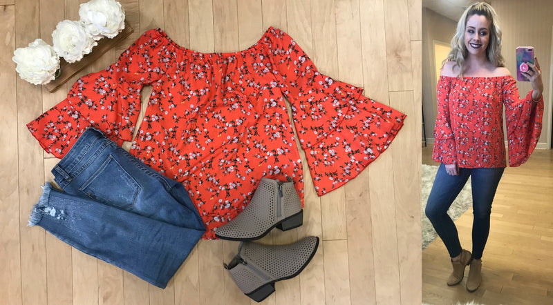 S / Orange Off Shoulder Bell Sleeve Floral Top - Madison + Mallory