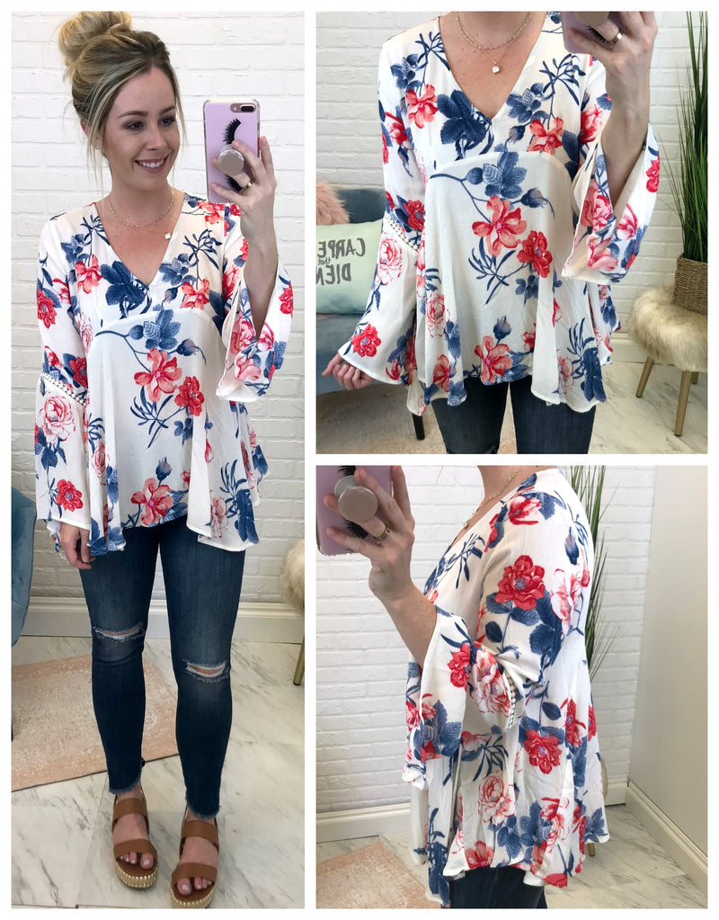Floral V-Neck Bell Sleeve Top - Madison + Mallory