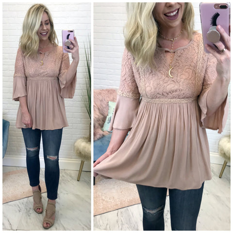 Lace Detail Flowy Top