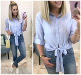 Button Down Tie Front Top