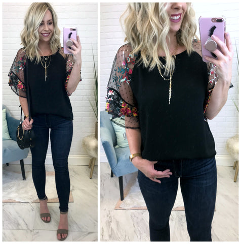 S / Black Floral Embroidered Sheer Ruffle Sleeve Top - Madison + Mallory