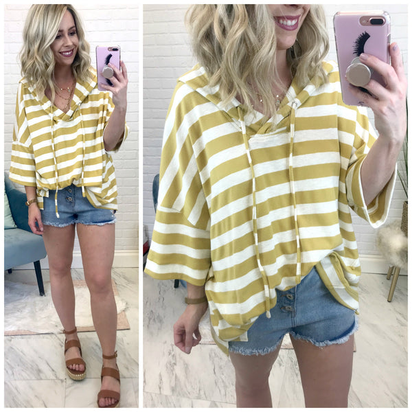 S / Honey Striped Hooded Top - Madison + Mallory