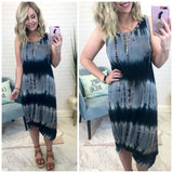 S / Pink/Blue Knotted Tank Tie Dye Dress - Madison + Mallory
