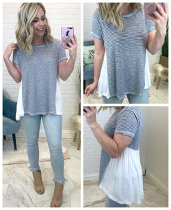 Mixed Media Striped Top - Madison + Mallory