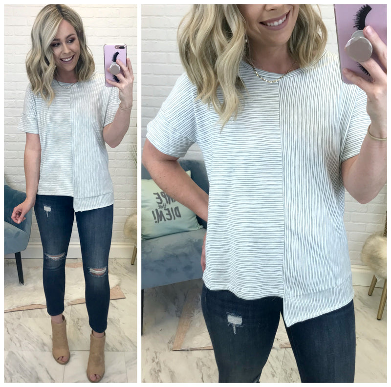 S / Blue Asymmetrical Striped Top - Madison + Mallory
