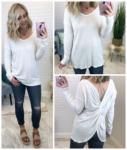 S / White Twist Back Thermal Top - Madison + Mallory