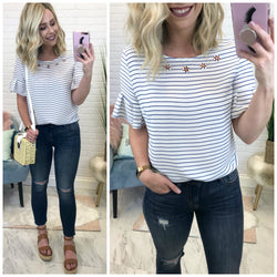 S / Blue Striped Embellished Ruffle Sleeve Top - Madison + Mallory