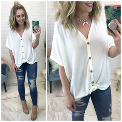 Thermal Knot Button Down Top - Madison + Mallory