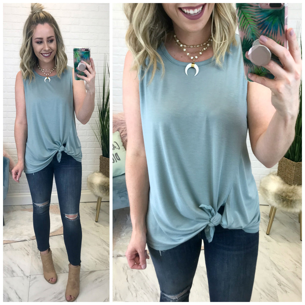 S / Mist Side Knotted Tank Top - Madison + Mallory