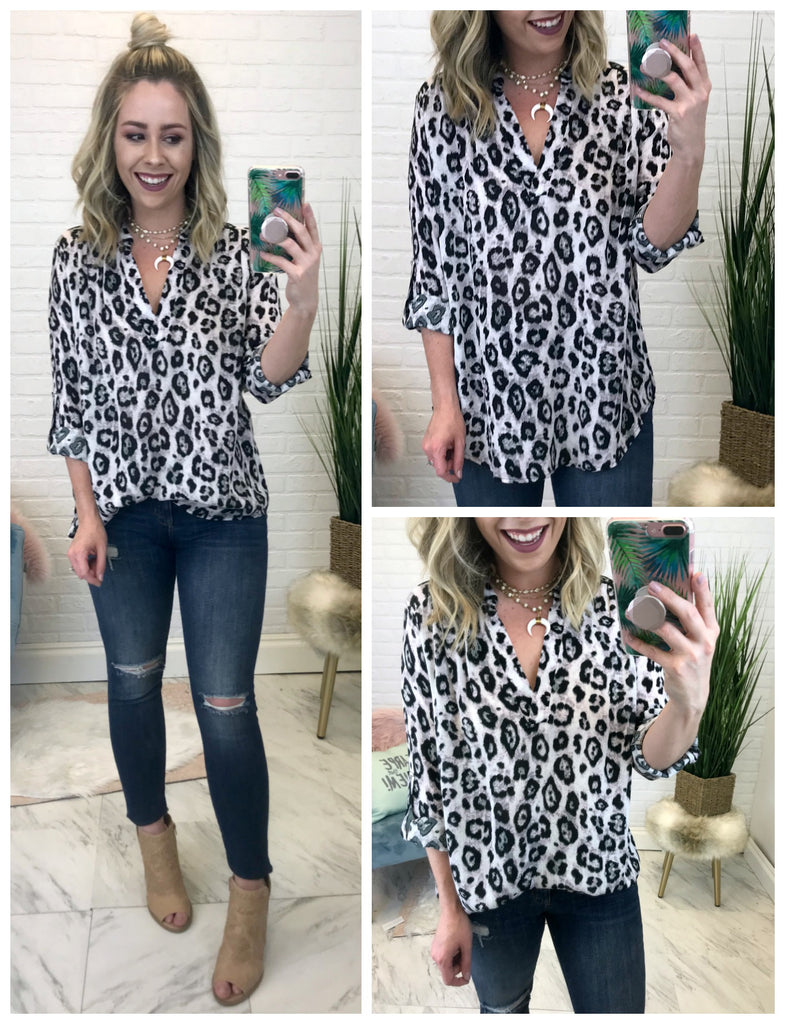 S / Snow Black Leopard Print V-Neck Tunic Top - Madison + Mallory