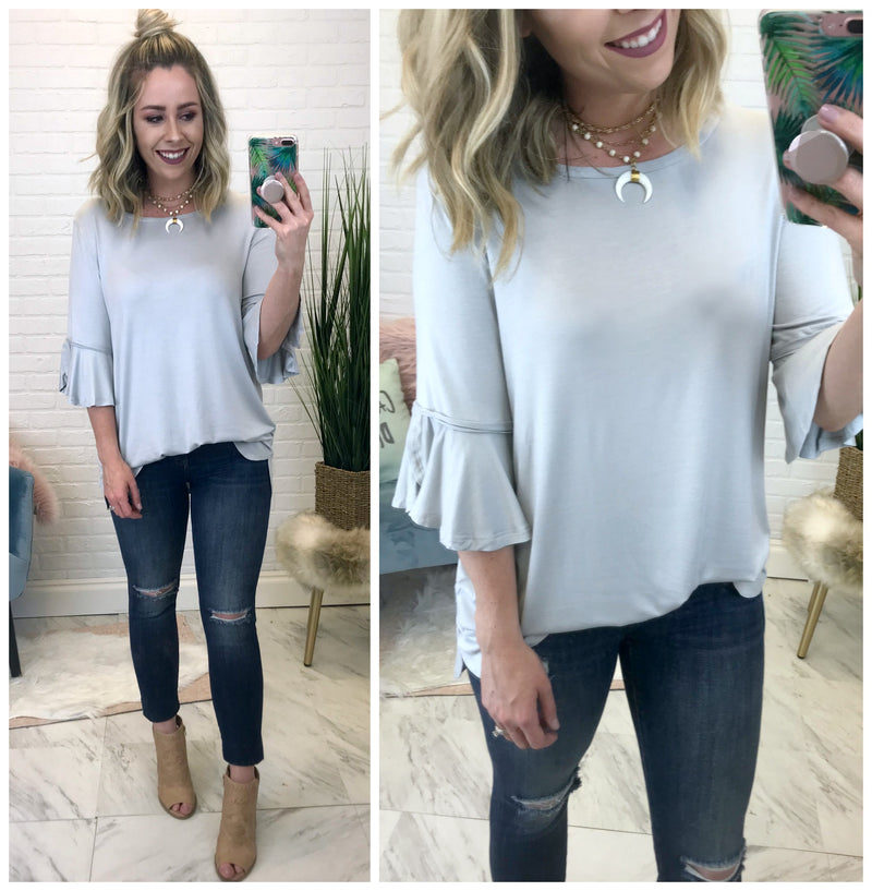 S / Gray Flowy Ruffle Sleeve Top - Madison + Mallory