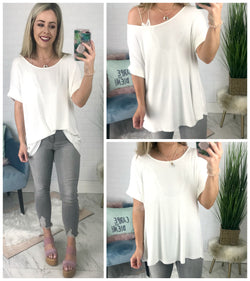 S / White High Low Knit Top - Madison + Mallory