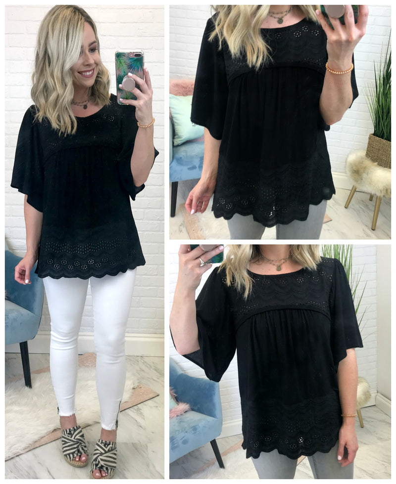 Embroidered Flared Sleeve Top - Madison + Mallory