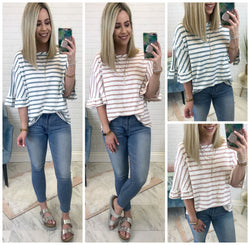 Ruffle Sleeve Striped Top - Madison + Mallory