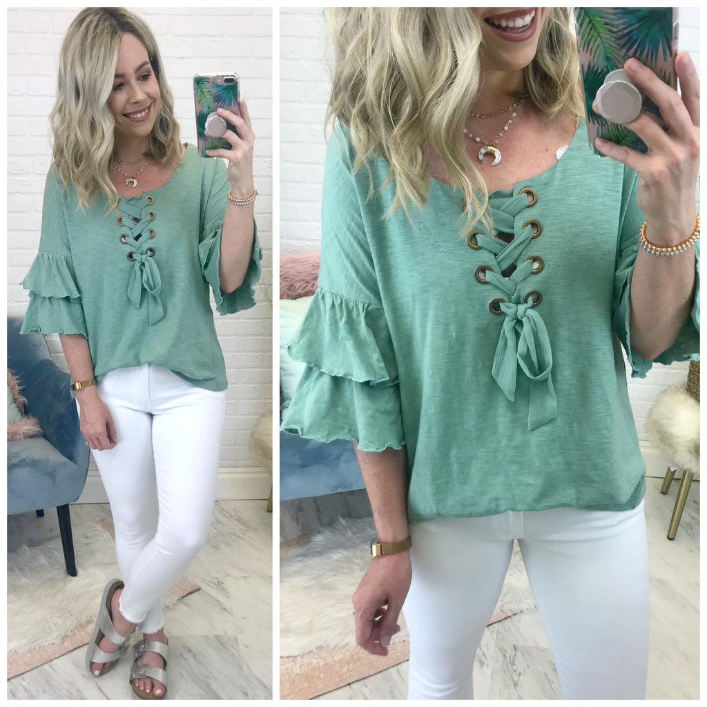Hadley Lace Up Top - Madison + Mallory