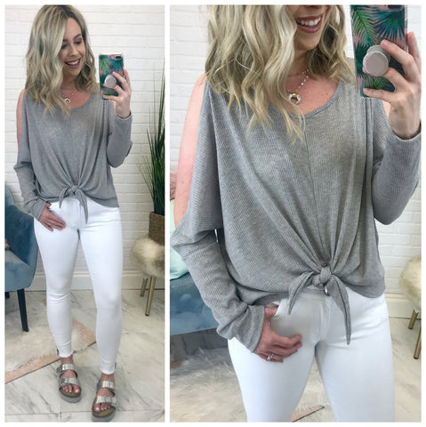 Ribbed Cold Shoulder Tie Front Top