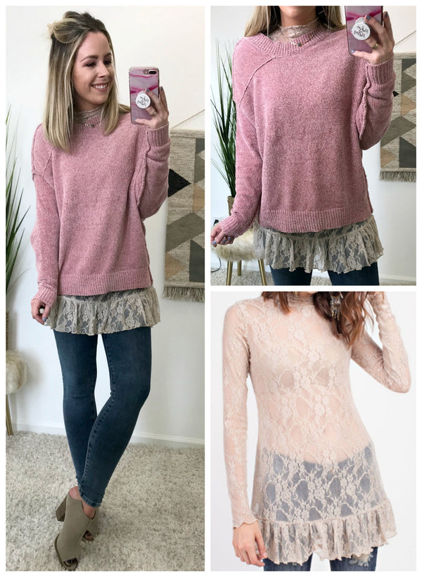 Allover Lace Layering Tunic - Madison + Mallory