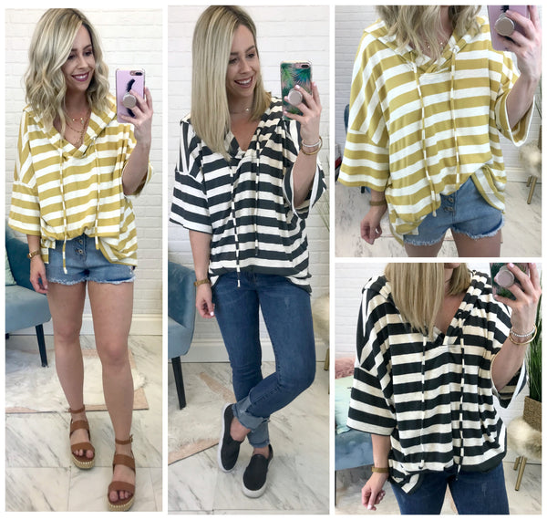 Striped Hooded Top - Madison + Mallory