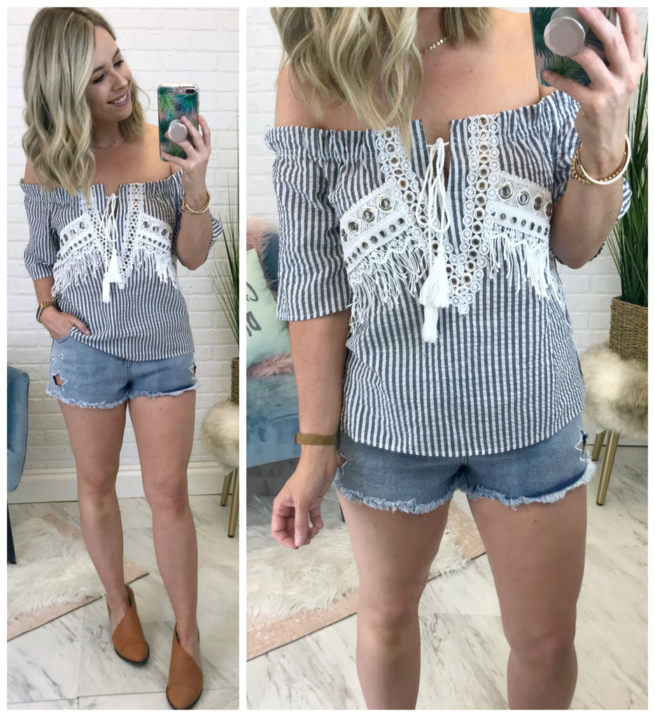 Striped Off Shoulder Top - Madison + Mallory