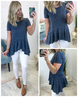 Mineral Washed Ruffle Top - Madison + Mallory