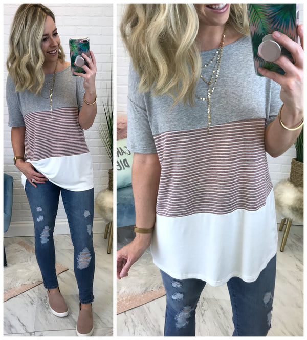 Striped Color Block Top - Madison + Mallory