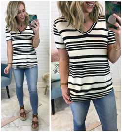 Relaxed V-Neck Striped Top - Madison + Mallory