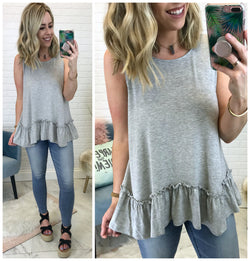 Camille Ruffle Hem Tank Top - Madison + Mallory