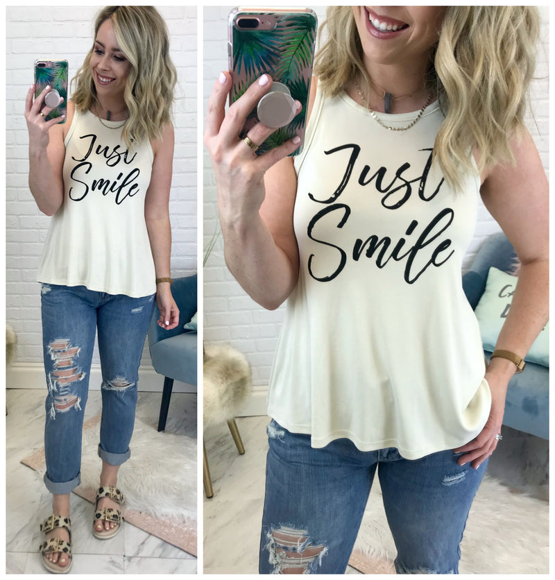 Just Smile Graphic Tank Top - Madison + Mallory