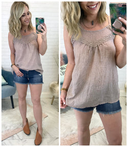 Crochet Detail Crinkle Tank Top - Madison + Mallory