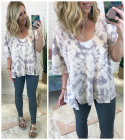 Tie Dye V-Neck Top - Madison + Mallory