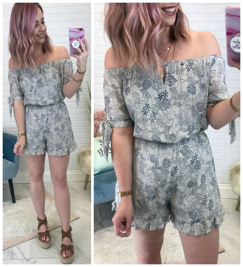 Off Shoulder Tie Sleeve Romper - Madison + Mallory