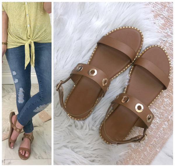 Camden Grommet Strappy Sandals - Madison + Mallory