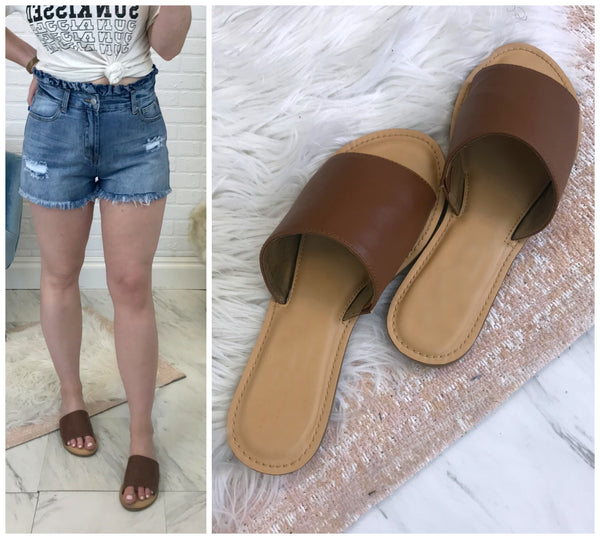 Natalie Cognac Slides - FINAL SALE - Madison and Mallory