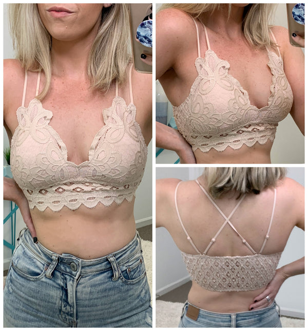 Blush / S Scallop Lace Bralette - Madison + Mallory
