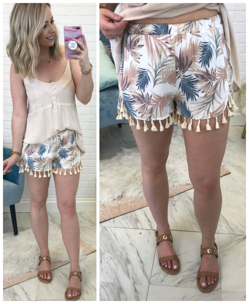 Tropical Tassel Trim Shorts - Madison + Mallory