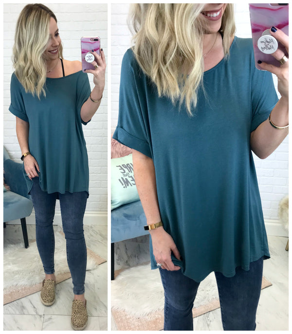 S / Jade High Low Knit Top - Madison + Mallory