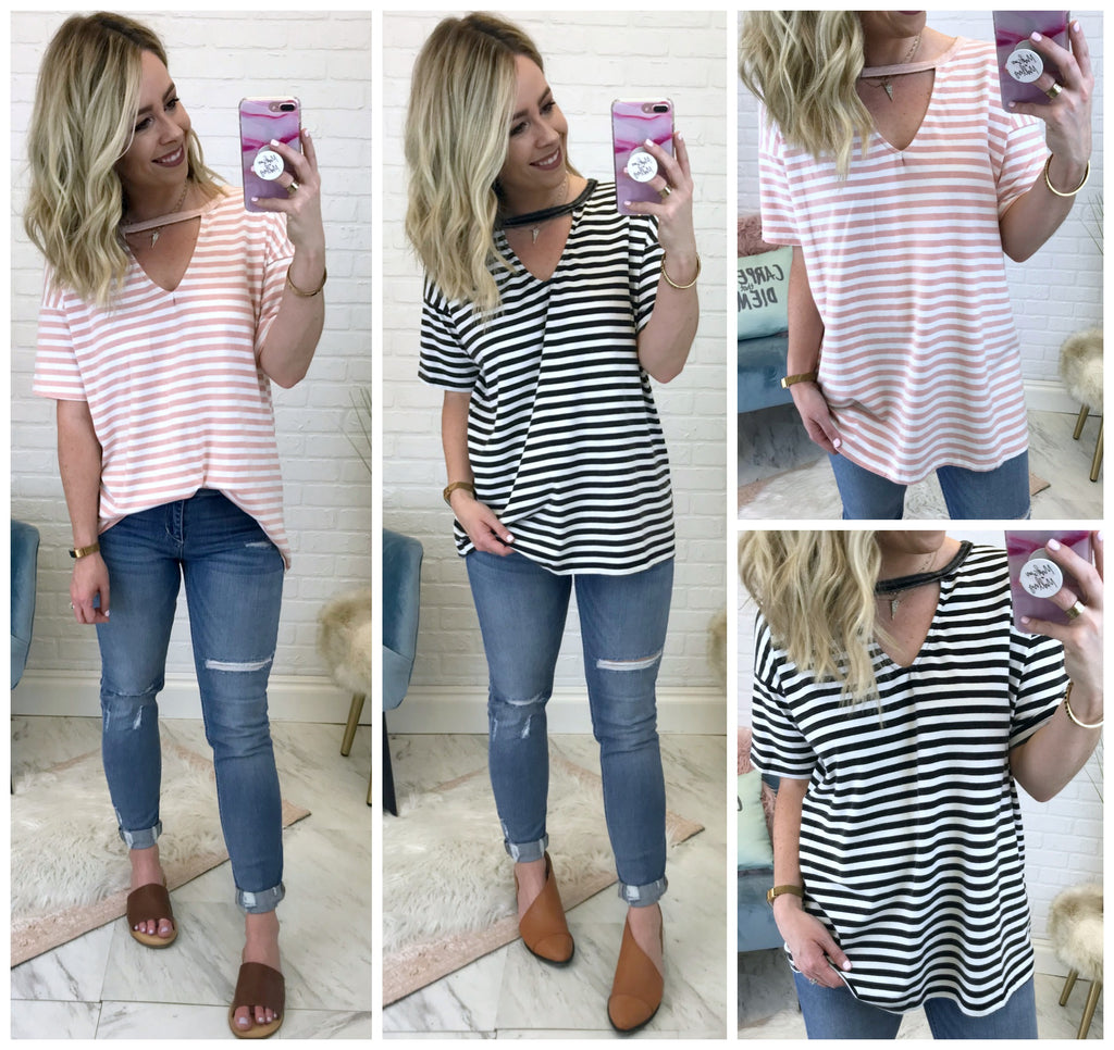 Valerie Striped Cutout Top - Madison + Mallory