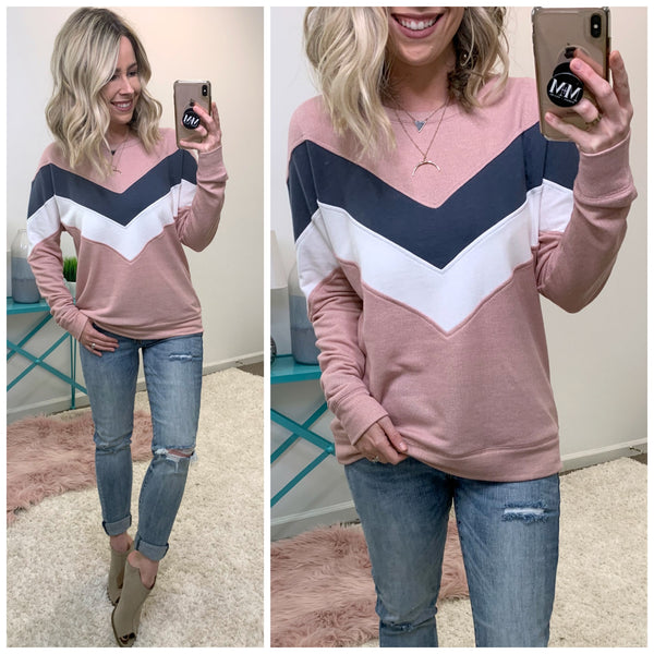 Keiry Chevron Pullover - Madison + Mallory
