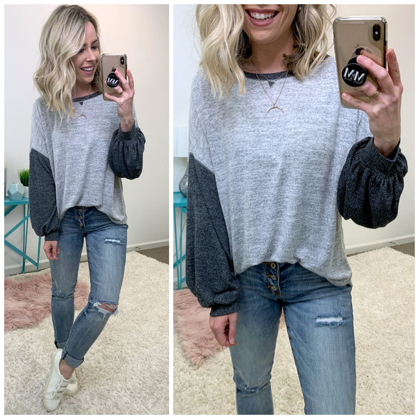 Liyana Contrast Sleeve Top - Madison + Mallory
