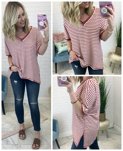 S / Marsala V-Neck Striped Top - Madison + Mallory