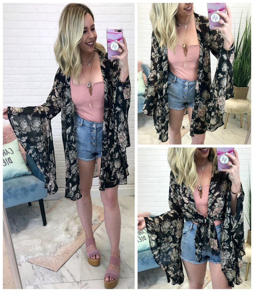 On My Mind Floral Bell Sleeve Kimono - Madison + Mallory