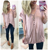 Alessia Knit Button Henley Top - Madison + Mallory
